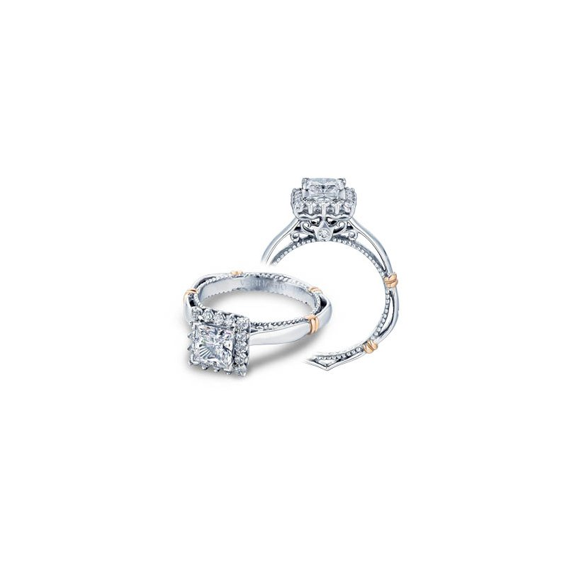 Verragio Verragio Parisian-112P - 14k White and Rose Gold Diamond Halo Engagement Ring by Verragio