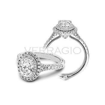 Verragio Couture 0425 OV - 18k White Gold Oval Double Halo Diamond Engagement Ring by Verragio
