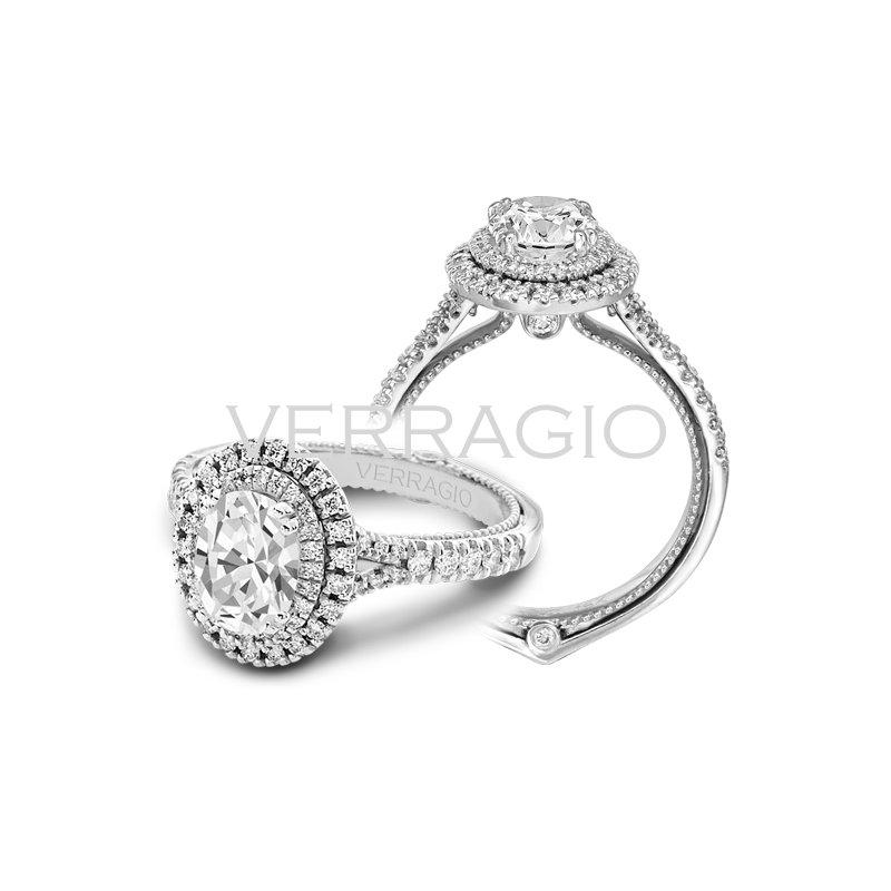 Verragio Verragio Couture 0425 OV - 18k White Gold Oval Double Halo Diamond Engagement Ring by Verragio