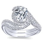 Gabriel NY 14k White Gold Spiral Round Engagement Ring Mounting by Gabriel