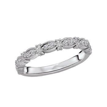 14k White Gold Infinity Milgrain Diamond Wedding Band
