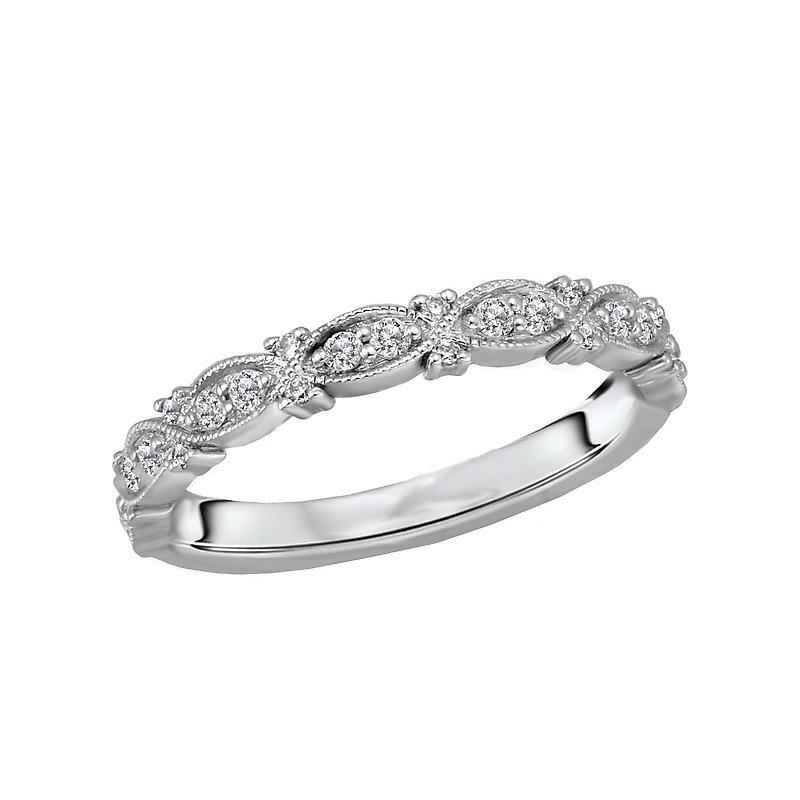 Signature Collection 14k White Gold Infinity Milgrain Diamond Wedding Band