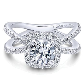 14k White Gold Criss Cross Cushion Halo Engagement Ring Mounting from the Gabriel NY Collection