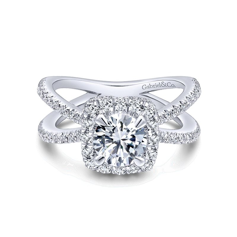 Gabriel NY 14k White Gold Criss Cross Cushion Halo Engagement Ring Mounting from the Gabriel NY Collection