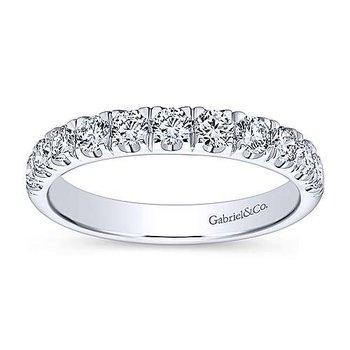 14k White Gold French Set Diamond Wedding Band by Gabriel NY