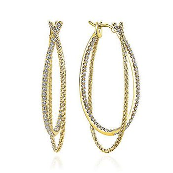 14k Yellow Gold Intricate Twisted Diamond Double Hoop