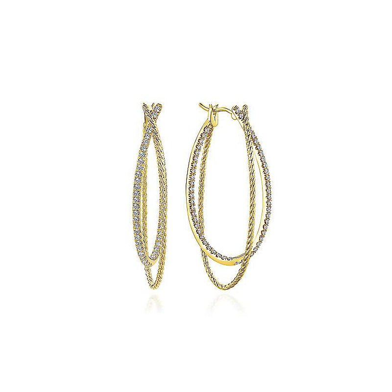 Signature Collection 14k Yellow Gold Intricate Twisted Diamond Double Hoop