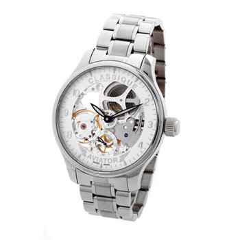 Classique Gents Full Skeleton Aviator Swiss Made Mechanical 48mm Stainless Steel Watch
