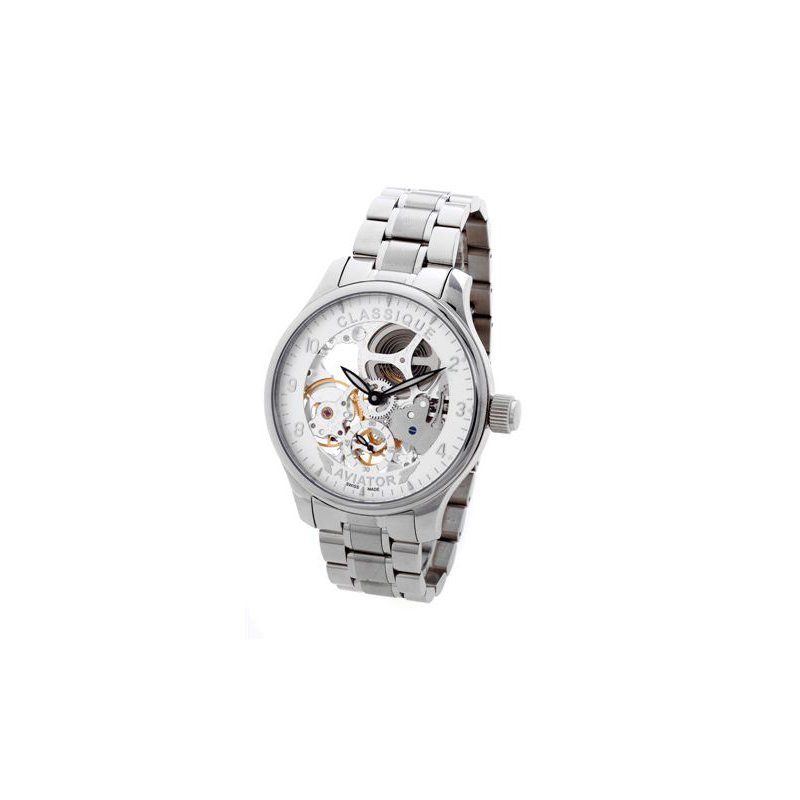 Swiss Watches Classique Gents Full Skeleton Aviator Swiss Made Mechanical 48mm Stainless Steel Watch