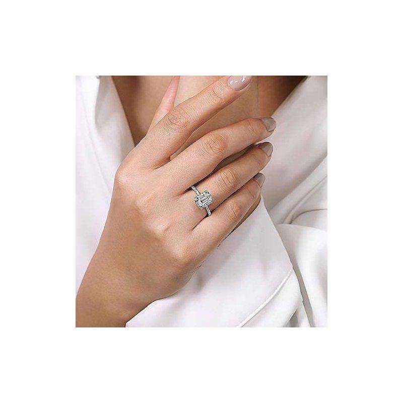 Gabriel NY 14k White Gold Emerald Cut Diamond Halo Engagement Ring by Gabriel NY