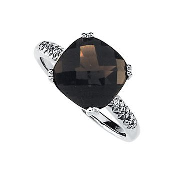 Genuine Checkerboard Smoky Quartz & Diamond Ring