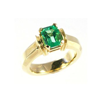 Genuine Emerald Ring in 14k Yellow Gold - 15924