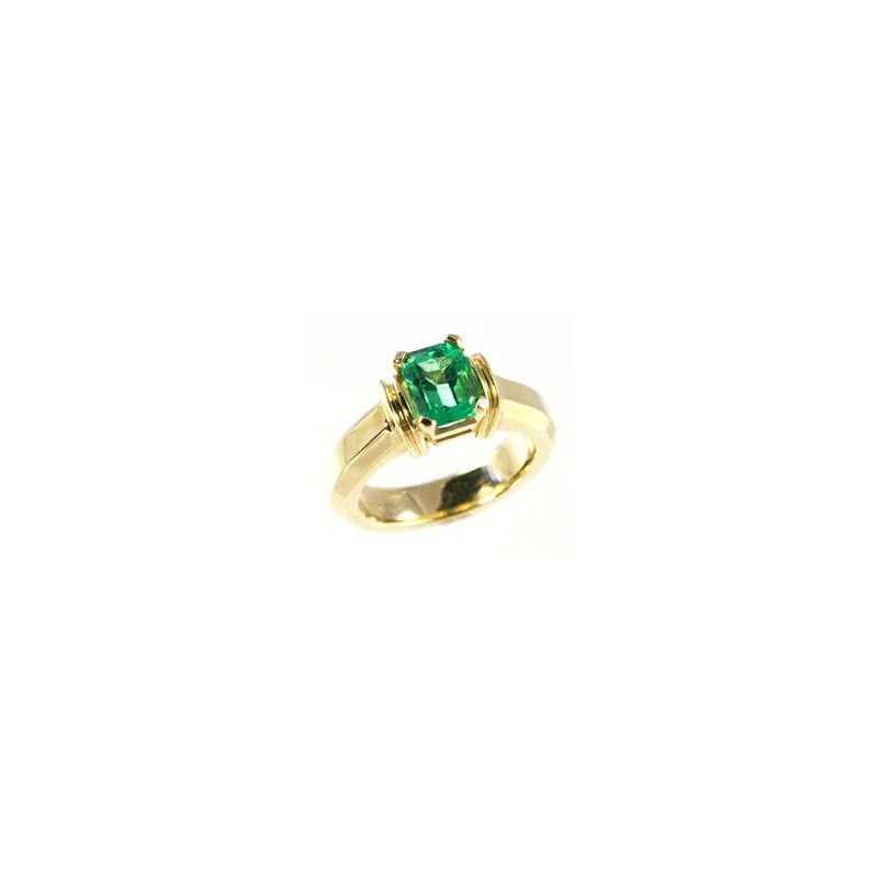 Signature Collection Genuine Emerald Ring in 14k Yellow Gold - 15924