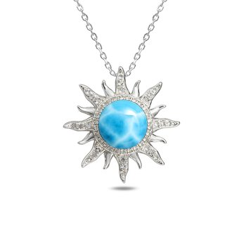 Sterling Silver Larimar Sun Pendant with White Topaz