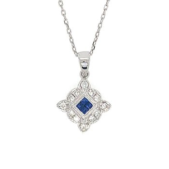 14k White Gold Vintage Inspired Sapphire and Diamond Pendant