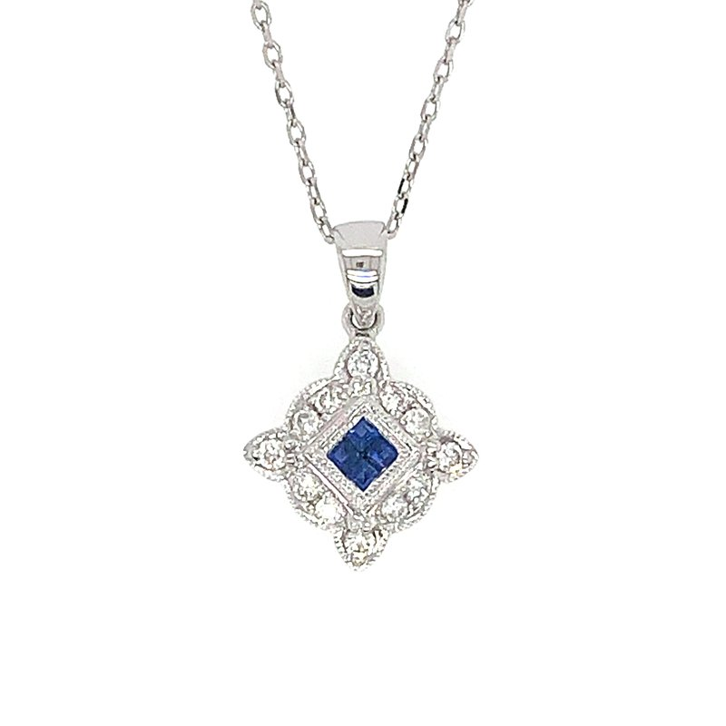 Signature Collection 14k White Gold Vintage Inspired Sapphire and Diamond Pendant