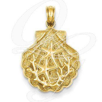 Quality Collection Sealife 14k Yellow Gold Textured Starfish in a Shell Pendant
