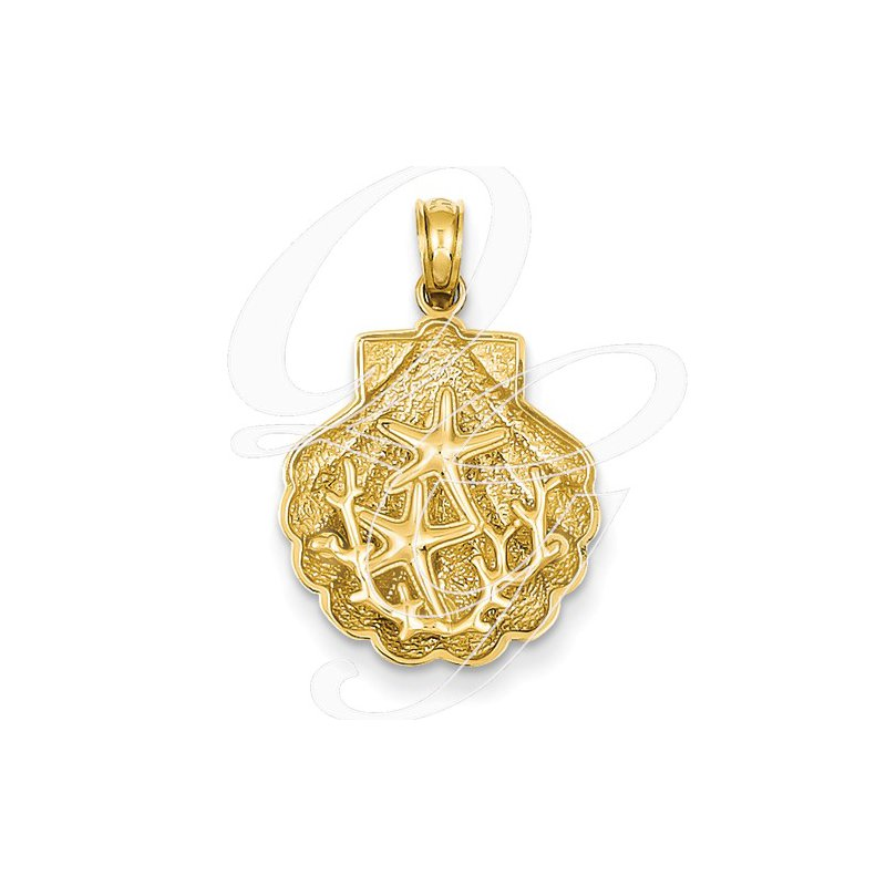 Sealife Jewelry Quality Collection Sealife 14k Yellow Gold Textured Starfish in a Shell Pendant