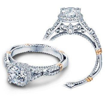 Verragio Parisian D-109R - 14k White and Rose Gold Diamond Halo Engagement Ring by Verragio