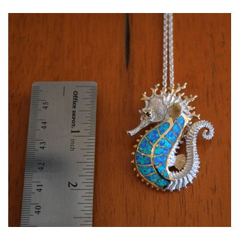 Kovel Sea Life Collection Large Seahorse Pendant in Sterling Silver with Lab Created Opal