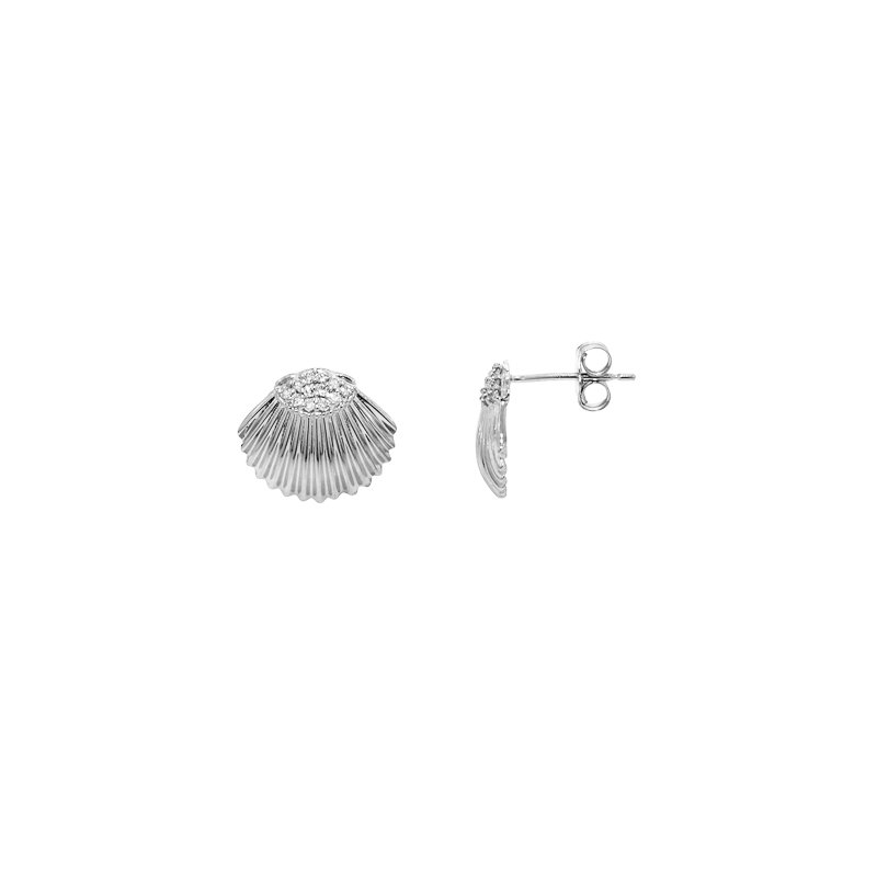 Sealife Jewelry 14k White Gold Diamond Shell Earrings