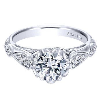 Platinum Vintage Style Engagement Ring from the Amavida Bridal Collection by Gabriel NY