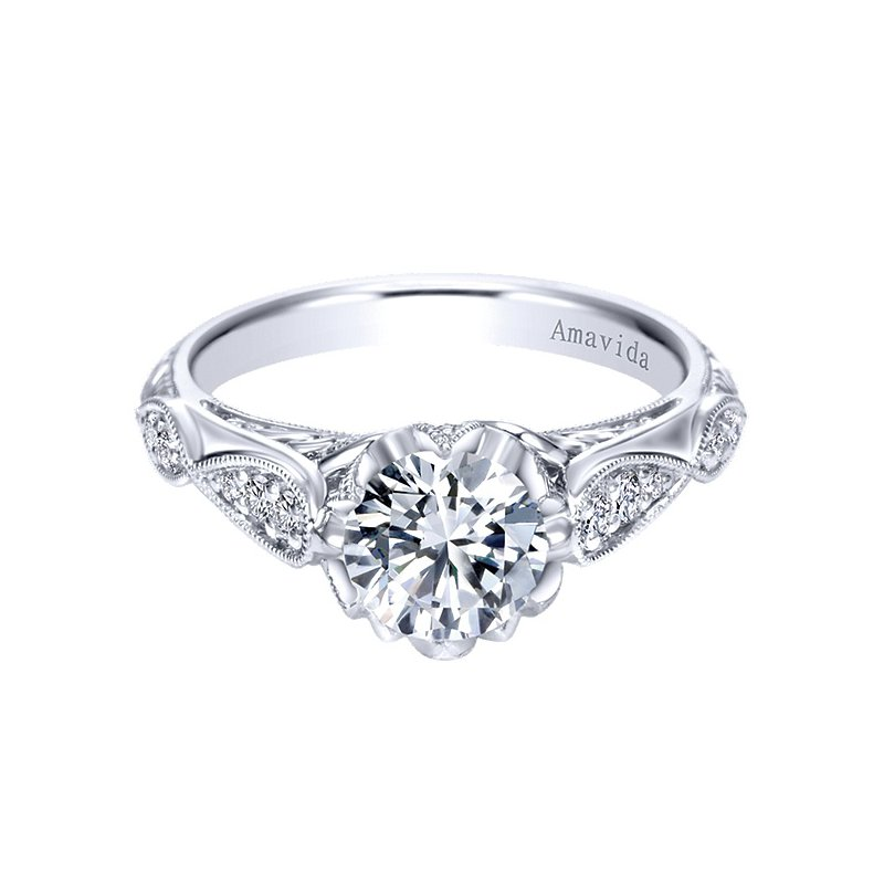 Gabriel NY Platinum Vintage Style Engagement Ring from the Amavida Bridal Collection by Gabriel NY