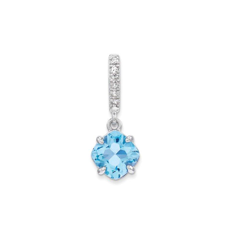 Signature Collection 14k White Gold 6mm Square Blue Topaz and Diamond Pendant