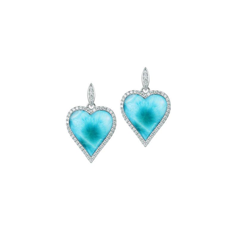 Alamea Larimar  Sterling Silver Larimar Heart Earrings with Cubic Zirconia