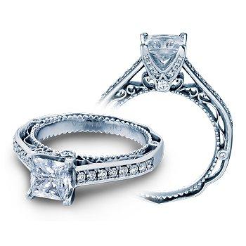 Verragio Venetian 5035P - 14k White Gold Princess Cut and Pave' Diamond Engagement Ring by Verragio