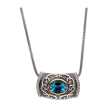 Genuine Swiss Blue Topaz Necklace