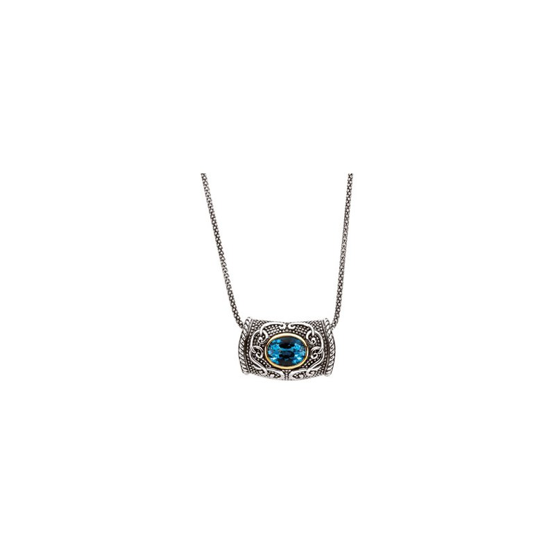 Signature Collection Genuine Swiss Blue Topaz Necklace