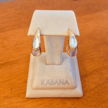 Kabana White Mother of Pearl Inlay & Diamond Earrings in 14k Yellow Gold