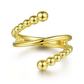 14k Yellow Gold Beaded Bypass Ring by Gabriel NY