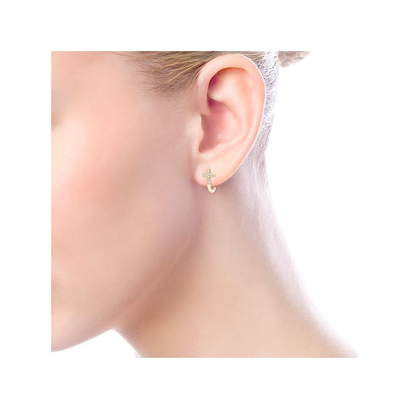 Crosses, Religious & Symbolic Jewelry 14k Yellow Gold Cross Diamond Earrings by Gabriel NY
