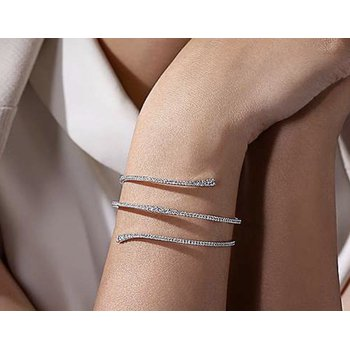 "14k White Gold 6.5"" Flex Spiral Diamond Bangle Bracelet by Gabriel NY"