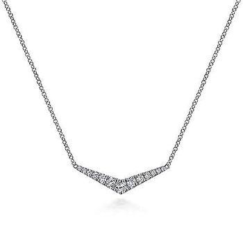 14k White Gold V Necklace by Gabriel NY