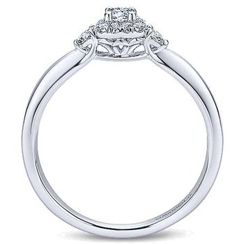 Adore Collection 14k White Gold 3-Stone Halo Engagement Ring