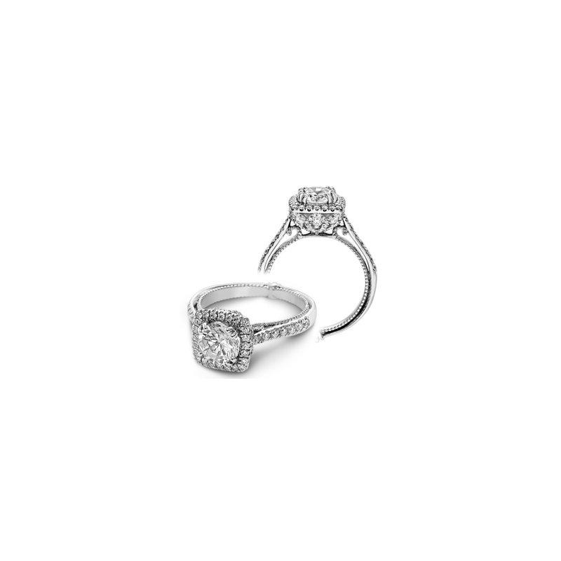 Verragio Verragio Couture 0433DCU-PLT - Platinum Cushion Halo Diamond Engagement Ring by Verragio