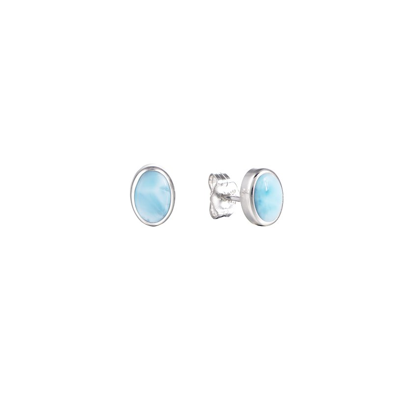 Alamea Larimar  Sterling Silver 7x5mm Oval Stud Earrings with Larimar