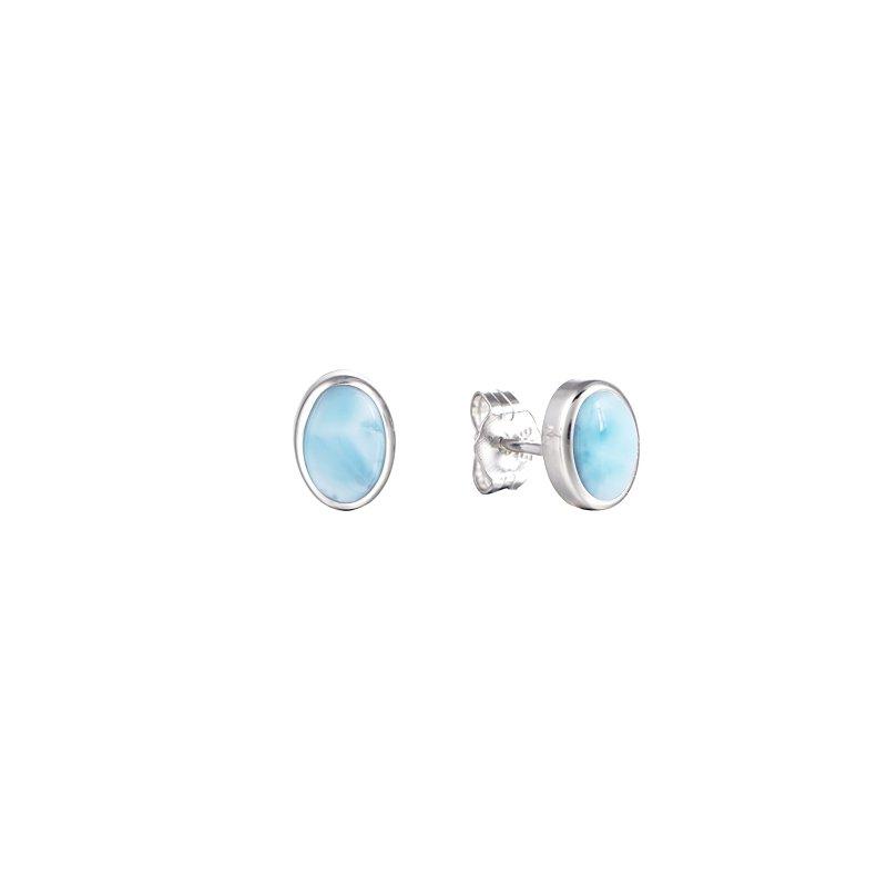 Alamea Larimar  Sterling Silver 7x5mm Oval Stud Earrings with Larimar