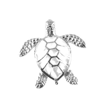 Kabana White Mother of Pearl Inlay Turtle Pendant in 14k White Gold