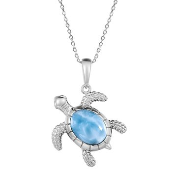 Sterling Silver Textured Turtle Pendant with Larimar