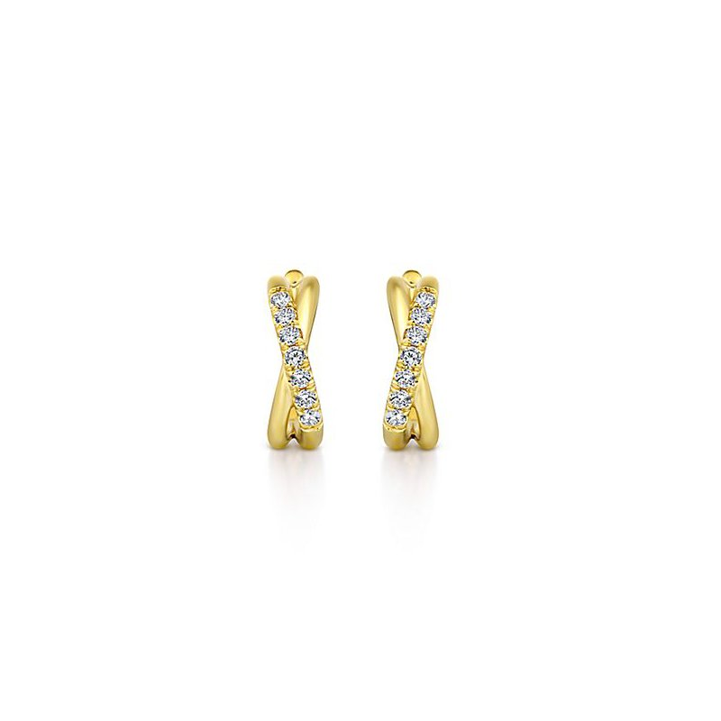 Signature Collection 14k Yellow Gold Twist Huggie Diamond Earrings by Gabriel NY - Style #EG13328Y