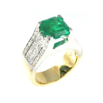Genuine Emerald and Diamond Ring in 18k White and Yellow Gold - 26914