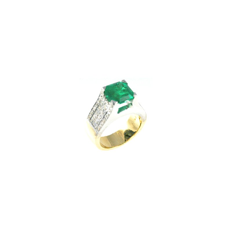 Signature Collection Genuine Emerald and Diamond Ring in 18k White and Yellow Gold - 26914