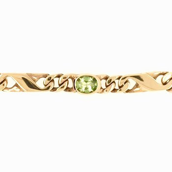 Genuine Oval Peridot Bracelet in 18k Yellow Gold