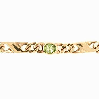 Genuine Oval Peridot Bracelet in 18k Yellow Gold