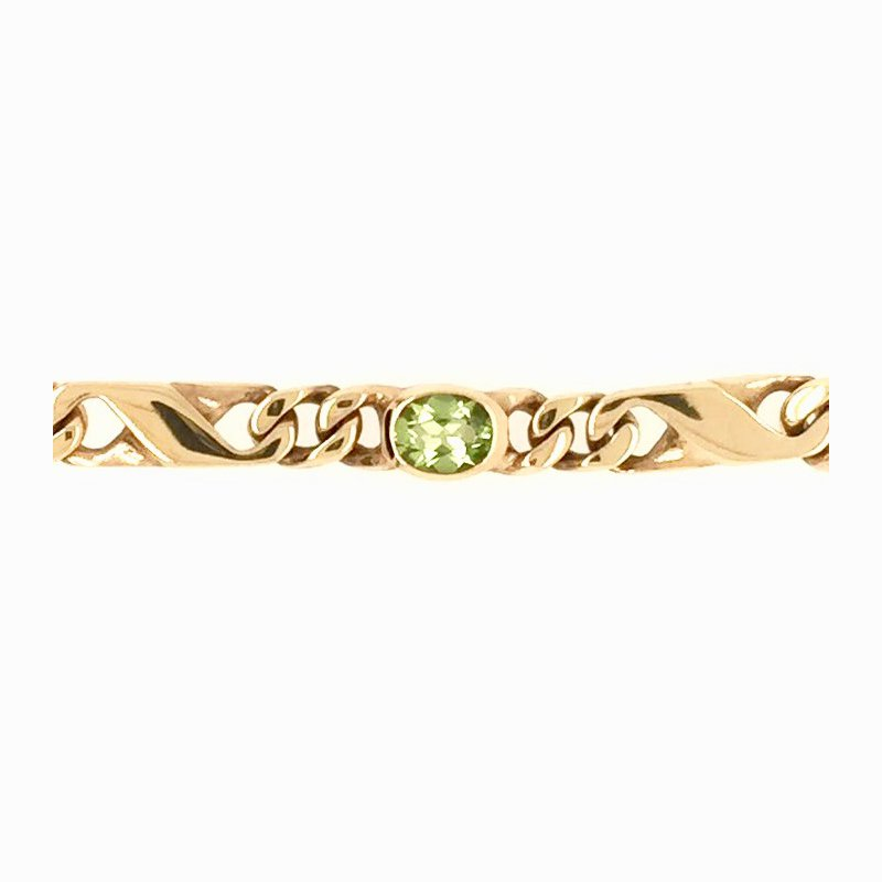 Signature Collection Genuine Oval Peridot Bracelet in 18k Yellow Gold
