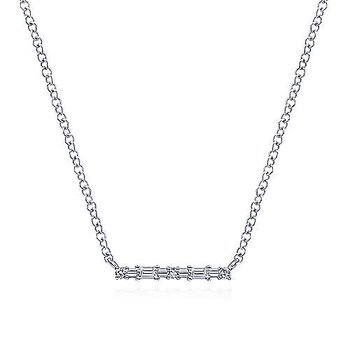 14k White Gold Baguette & Round Diamond Bar Necklace by Gabriel NY